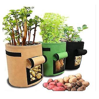3pcs Kartoffel Grow Bag Kartoffel Planter Bag Plant Potter Med Strap Håndtag (4Gallon 25cm * 30cm)