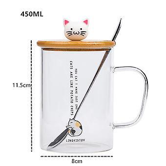 450ml schattige kat glazen mokken met lepel en deksel koffie thee melk ontbijt kopjes (wit)