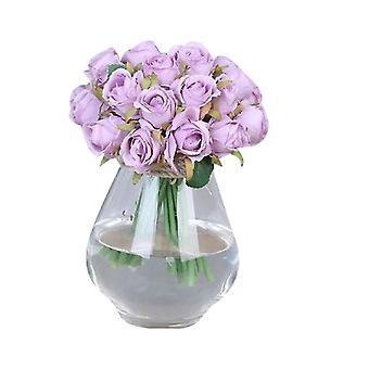 12 cabeças flores rosas artificiais buquê flores de seda rosa (cor3)