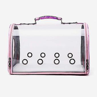 Transparent Cat Carrier, Puppy Carrying Shoulder Bag Handbag Portable(Pink)