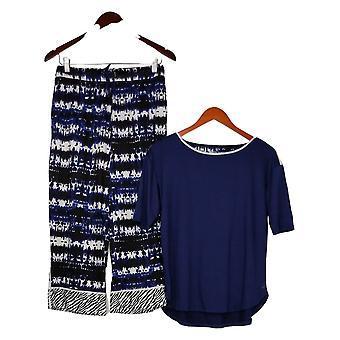 Cuddl Duds Femmes Cool &Airy Imprimé Pantalon Recadré Pyjama Set Bleu A373980