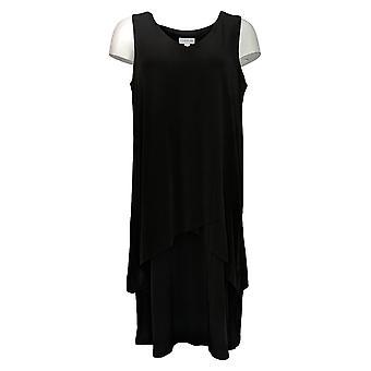 Susan Graver Dress Regular Liquid Knit Sleeveless Tiered Dress Black A377870