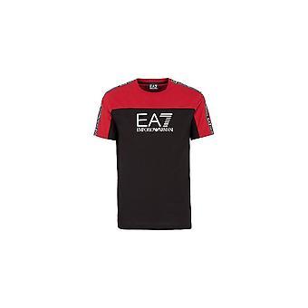 Emporio Armani EA7 Puuvilla Musta/Punainen Kumitettu Logo T-paita