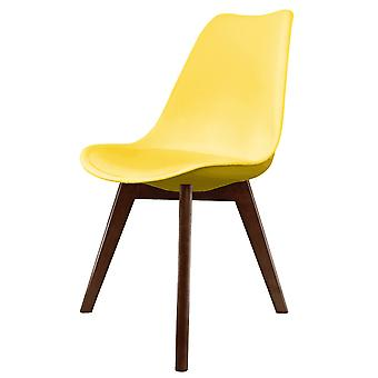 Fusion Living Eiffel Inspired Yellow Plastic Dining Chair With Squared Dark Wood Legs - Set Of 4