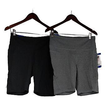 Danskin Women's Shorts Set Of 2 High Rise Balance Bike Black