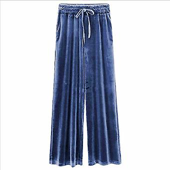 New Drape Women's Autumn Straight High Waist Slim Loose Thin Velvet Wide Leg Pants