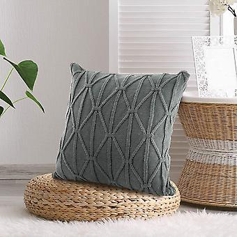 Koristeellinen kaapeli neule tyynynpäälliset neliön lämmin & viihtyisä sohva tyynyliina tyyny kattaa harmaa 18x18 tuumaa
