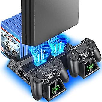 Ps4 Stand Cooling Fan Station For Playstation 4/ps4 Slim/ps4 Pro, Oivo Ps4 Pro Vertical Stand With Dual Controller Ext Port Charger Dock Station And 1