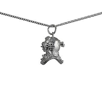 Silver 17x11mm Deep Sea Divers Helmet Pendant with a curb Chain 24 inches