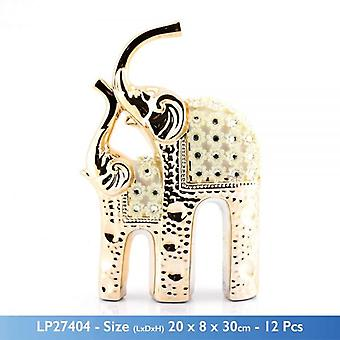 GOLD MILLE SYLISH CERAMIC TWIN ELEPHANTS WITH FLOWER DESIGN AND STONES