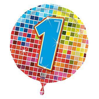 Folha balão aniversário número 1 disco balão 43cm balão