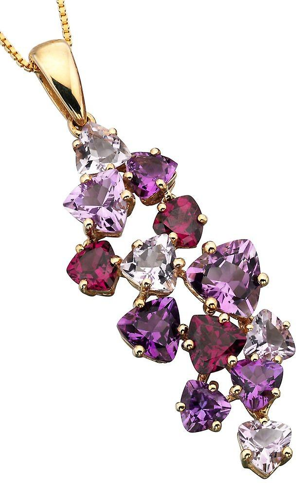 9 ct Gold With Amethyst And Garnet Necklace Brazil