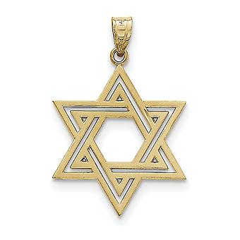 14k Yellow Gold Solid Satin Star Of David Charm - 2.1 Grams - Measures 28x24mm