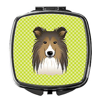 Carolines Treasures  BB1304SCM Checkerboard Lime Green Sheltie Compact Mirror