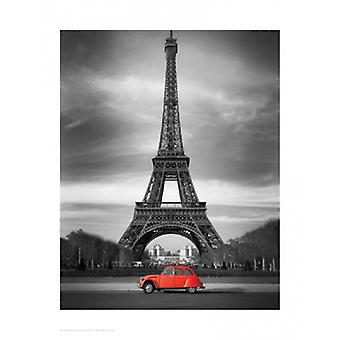 Retro rød og Eiffeltårnet plakatutskrift (14 x 17)