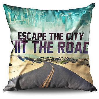Escape The City Linen Cushion 30cm x 30cm | Wellcoda