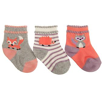 Baby Girls Cotton Rich Assorted Animal Design Socks (Pack Of 3)