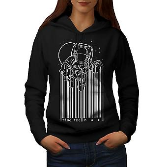 Space Astronaut Moon Geek Women BlackHoodie | Wellcoda