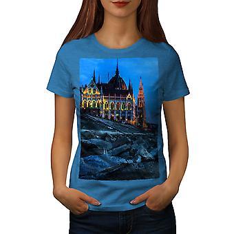 Budapest Castle Dark City Women Royal BlueT-shirt | Wellcoda