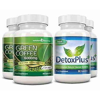Green Coffee Bean Extract 6000mg Detox Combo Pack - 2 Month Supply - Fat Burning and Colon Cleansing - Evolution Slimming