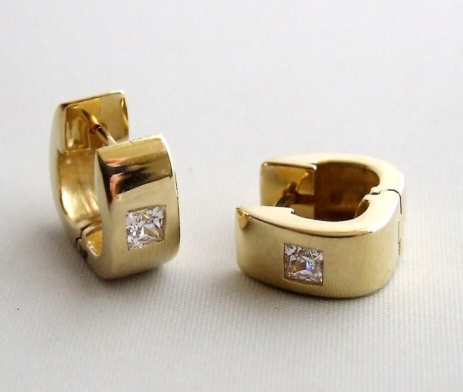 Gold cubic zirconia Creoles