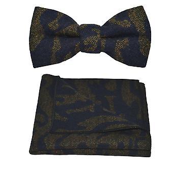 Luxe modèle bleu marine arabe noeud papillon & mouchoir de poche Set