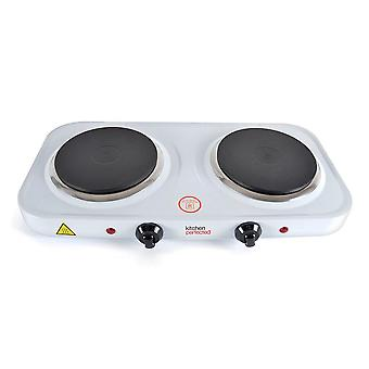 Lloytron Kitchen Perfected Double Hotplate 2500 W White (Model No. E4202WH)