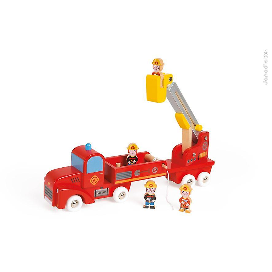 Janod Wooden Firefighters Truck with Telescopic Ladder and Hose