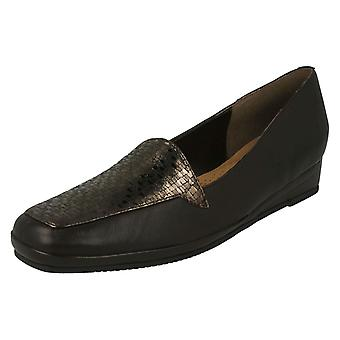 Ladies Van Dal Elegant Loafers Verona III - Metal/Fawn Lizard Prt Leather - UK Size 8D - EU Size 42 - US Size 10