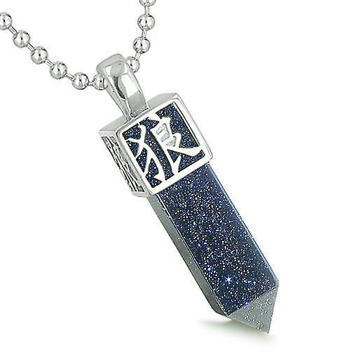 Amulet Reversible Wolf Paw Kanji Magic Super Powers Blue Goldstone Crystal Point Pendant Necklace