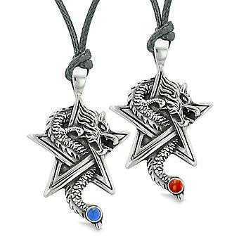 Moed Dragons ster Pentacle Amulet paren beste vrienden instellen Jasper gesimuleerd katten oog kettingen