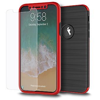 Apple iPhone X 2 w 1 przypadku 360 stopni pełne pokrycie przypadku czerwony