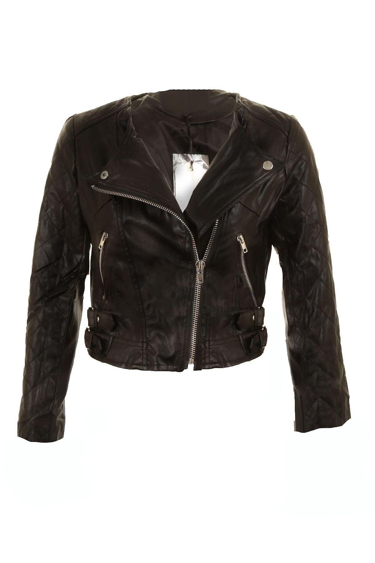 Ladies Black Biker Jacket Silver Zip PVC Leather Long Sleeve Women's Coat