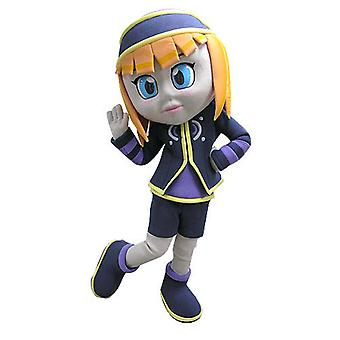 pretty redhead girl SPOTSOUND mascot, dressed in blue and purple