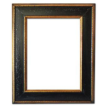40x50 cm, wooden frame in gold and black