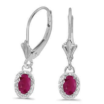 LXR 10k valkoinen kulta soikea rubiini ja timantti vipupala korvakorut 0.94ct