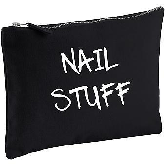 Nail Stuff Black Canvas Make up Bag