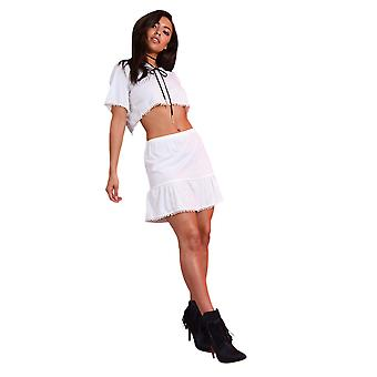 Lovemystyle White Co-ord With Pom Pom Skirt And Crop Top