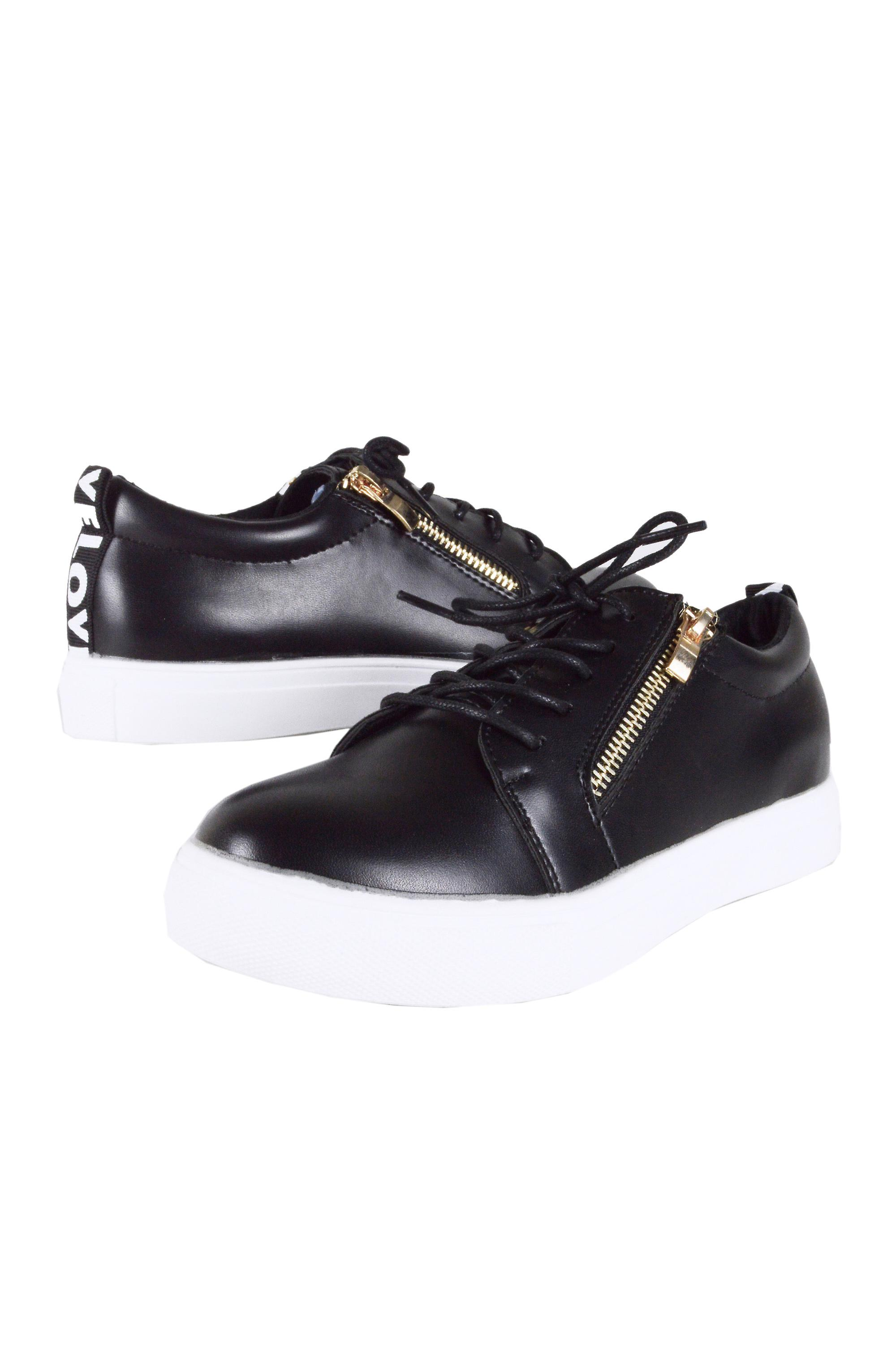 LMS Black Lace Up Trainer With Gold Zip and 'LOVE' Detail