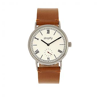 Simplify The 5100 Leather-Band Watch - Camel/White