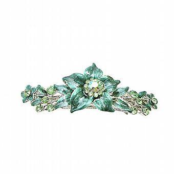 Peridot Crystals Prom Wedding Hair Barrette Dark Green Flower Barrette
