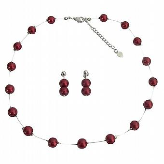 Perfect Wedding Jewelry Apple Red Pearls Floating Illusion Necklace Post Earrings