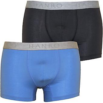 Hanro Cotton Essentials 2-Pack Boxer Trunks, Atlantic/Concrete