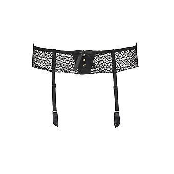 Aubade MC50 Women's Femme Aubade Black Jacquard Lace Suspender Belt