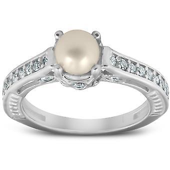 Diamante perla Gatsby Vintage estilo anillo 14K oro blanco