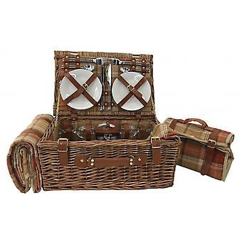 Autumn Red Tartan 4 Person Fitted Picnic Basket with Cooler
