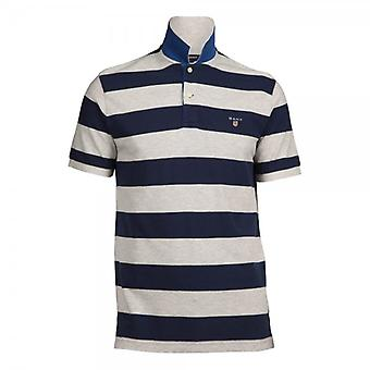 Gant Short Sleeve A.P Bar Stripe Pique Rugger Polo Shirt,(Light Grey)