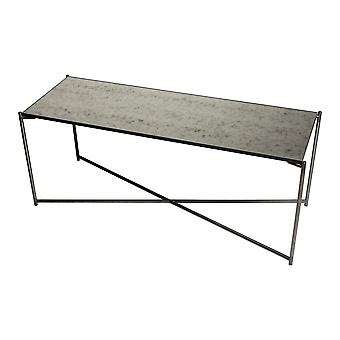 Gillmore Antiqued Glass Low Console Media Table With Gun Metal Cross Base