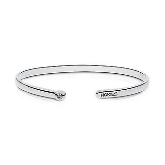 Virginia Tech Engraved Sterling Silver Diamond Cuff Bracelet