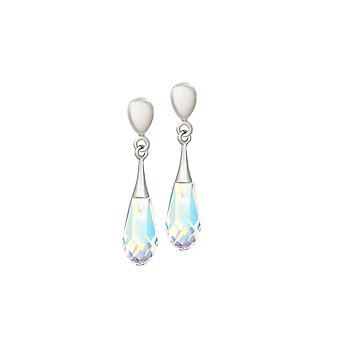 Evig samling prisme Aurora Borealis Briolette krystallklar sølv Tone slipp klipp på øredobber